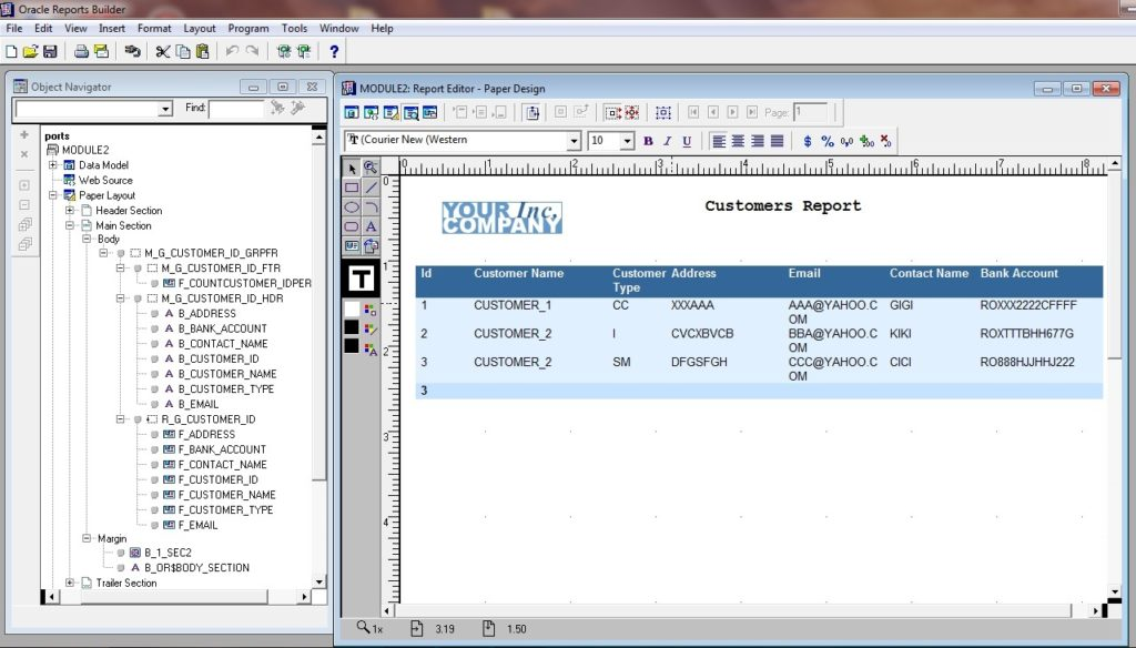 Oracle Run Module Report Editor Paper Design Oracle Reports 11g