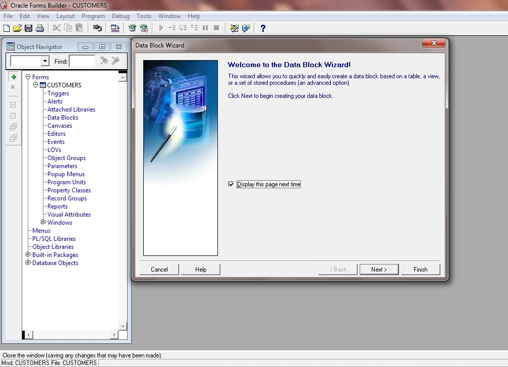 Create New Data Block Wizard in Oracle Forms 11g: Welcome to the Data Block Wizard!