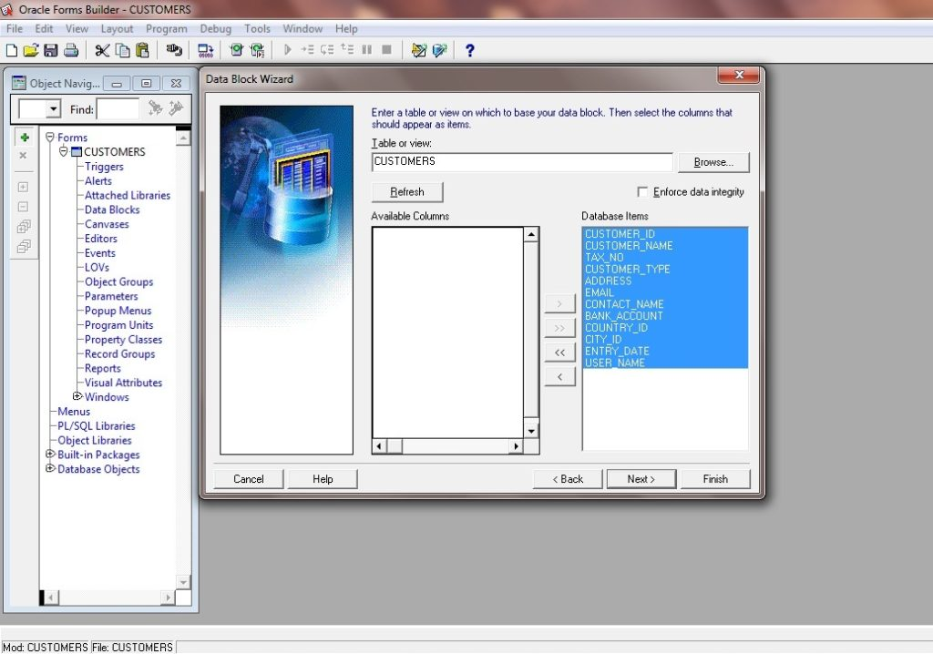 Picture 3: Create New Data Block Wizard in Oracle Forms 11g